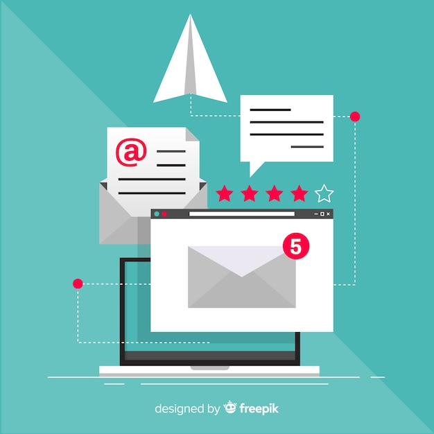 Marketing e-mail piatto Vettore gratuito