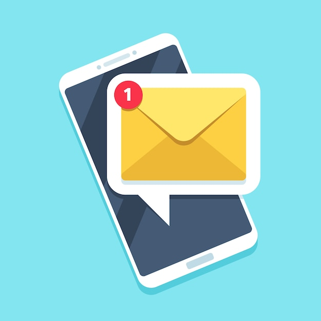 Flat email notification on smartphone Premium Vector