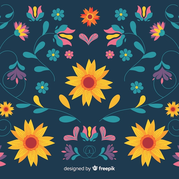 Flat embroidery mexican floral background Free Vector