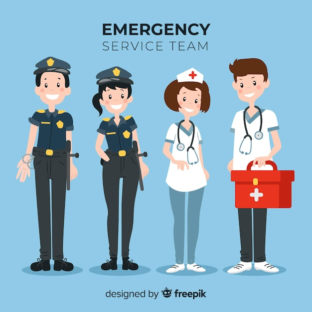 Flat emergency service team Free Vector