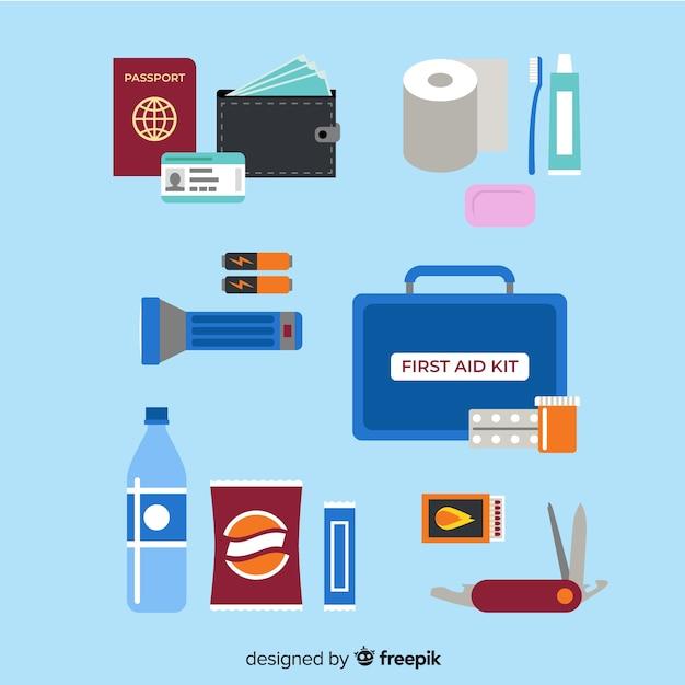 Flat emergency survival kit Free Vector