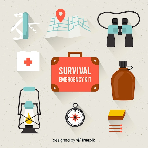 Flat emergency survival kit Free Vector