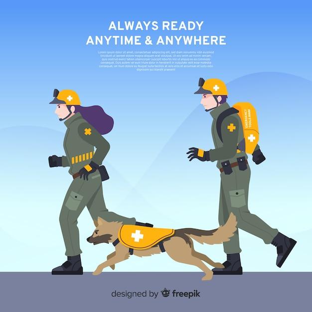 Flat emergency team design Free Vector