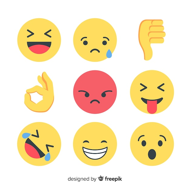 Flat emoticon reaction collectio Free Vector