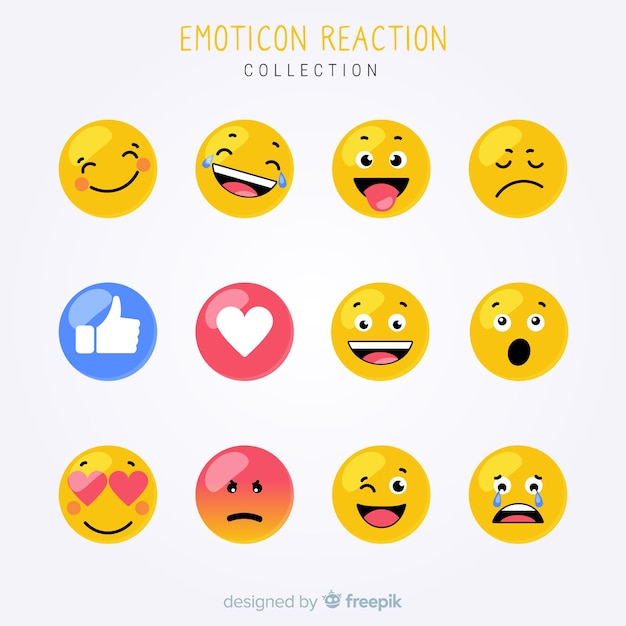Flat emoticon reaction collectio Free Vector
