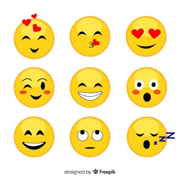 Плоская коллекция эмоций Premium векторы
