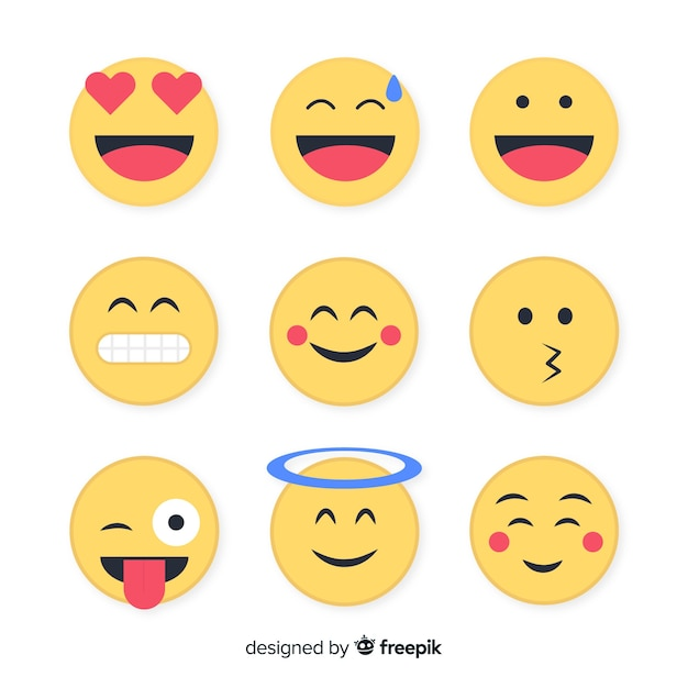 Flat emoticon reaction collection Free Vector