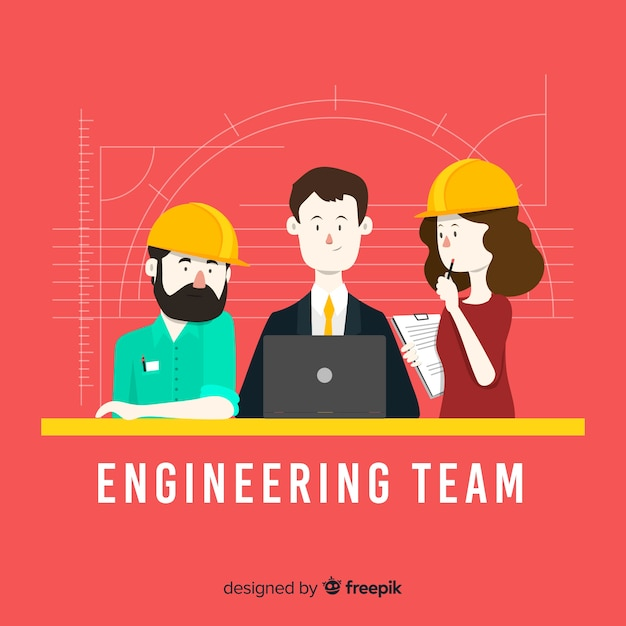Flat engineering team background Free Vector