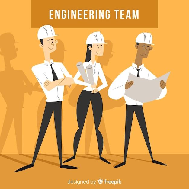 Flat engineering team background Free Vector
