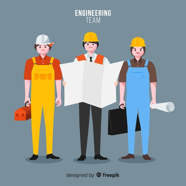 Flat engineering team at work Free Vector