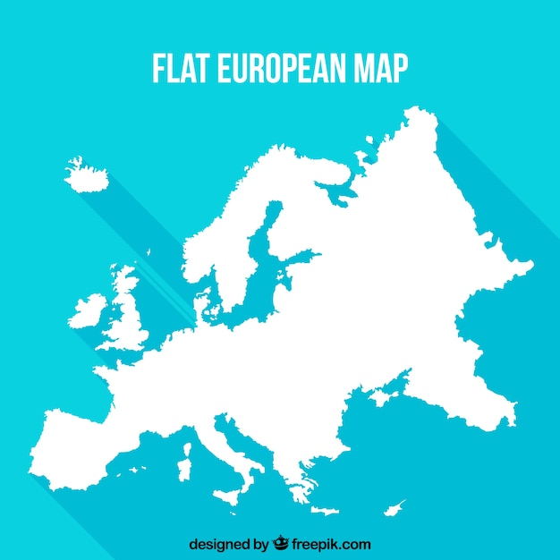 Flat european map with blue background Free Vector