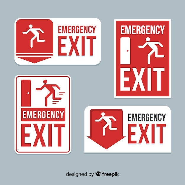 Flat exit sign collection Free Vector