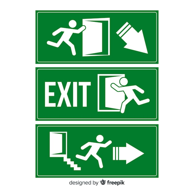 Flat exit sign collection Premium Vector