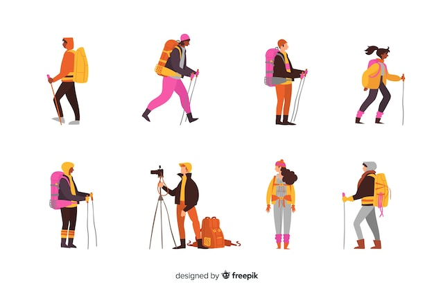 Flat explorer with backpack collection Free Vector