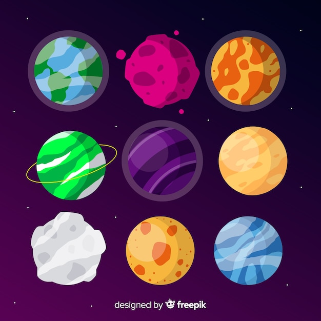 Flat extraterrestrial planet collection Free Vector