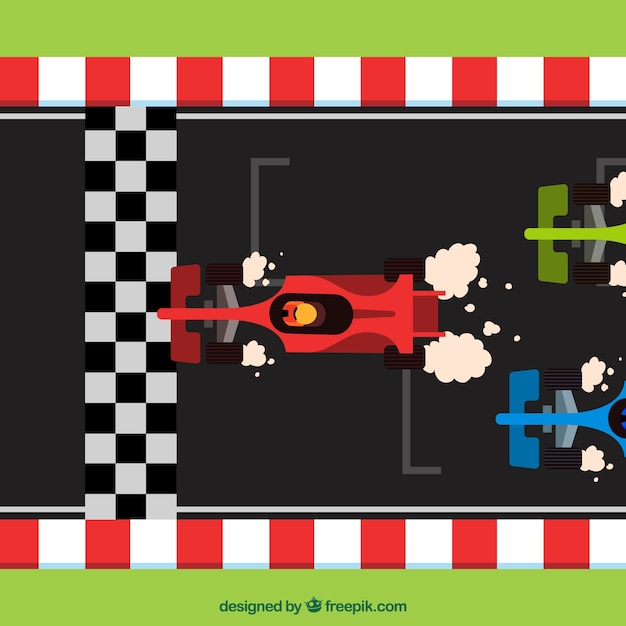 Flat f1 racing cars crossing finish line Free Vector