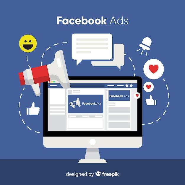 フラットフェイスブック広告の背景 Premiumベクター