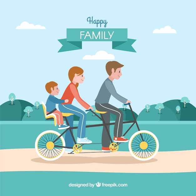 Flat family cycling in the park Free Vector