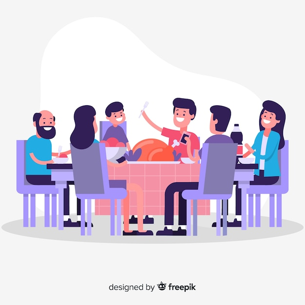 Flat family  eating together Free Vector