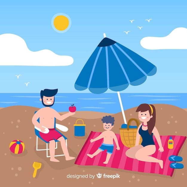 Плоская семья наслаждается летними каникулами Бесплатные векторы