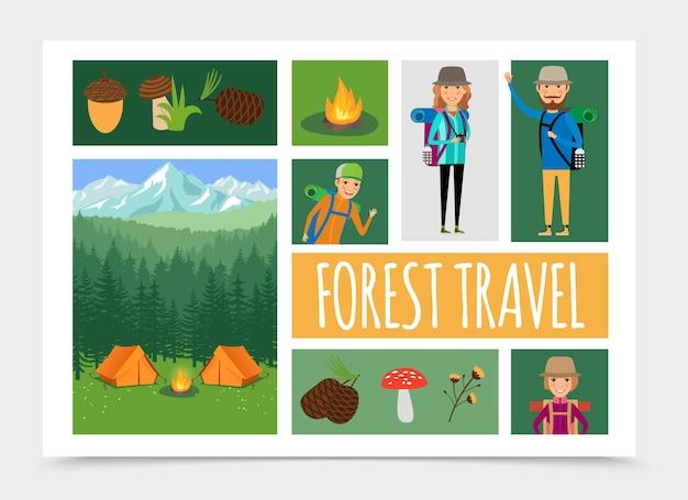 자연 구성 그림에서 플랫 가족 야외 레크리에이션 무료 벡터