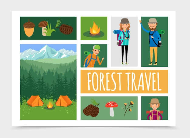 Flat family outdoor recreation in nature composition illustration Free Vector