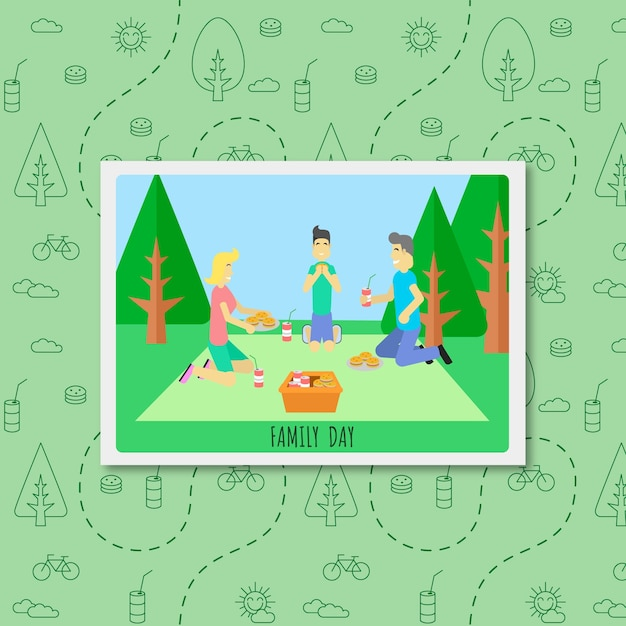 Flat family picture enjoying in a picnic