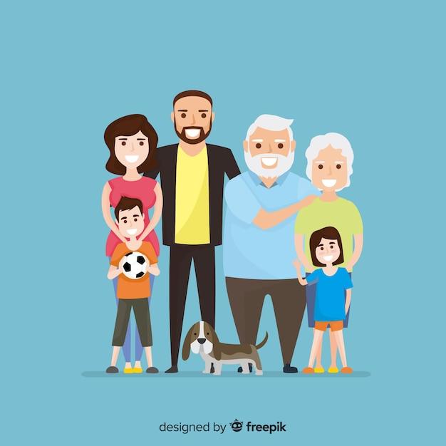 Flat family portrait Free Vector