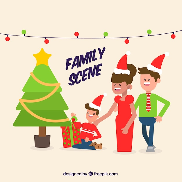 Flat family scene with a christmas tree
