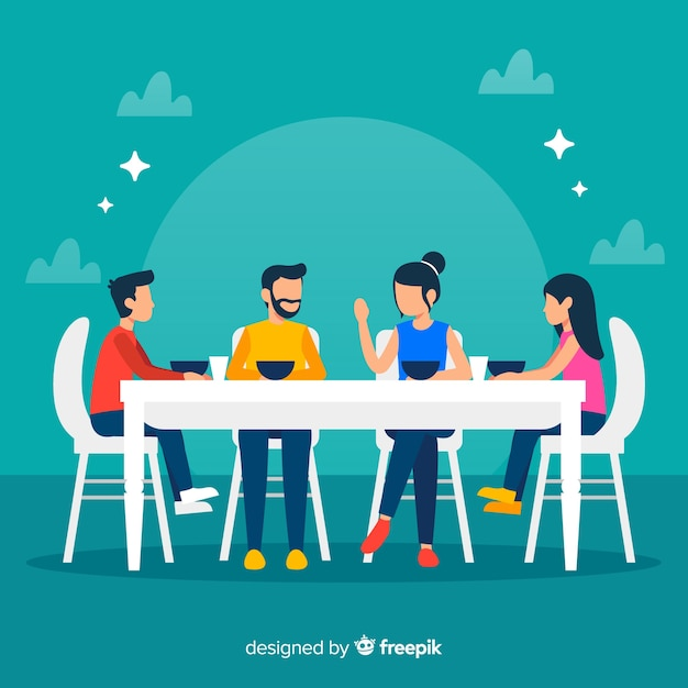 Flat family sitting around table illustration Free Vector
