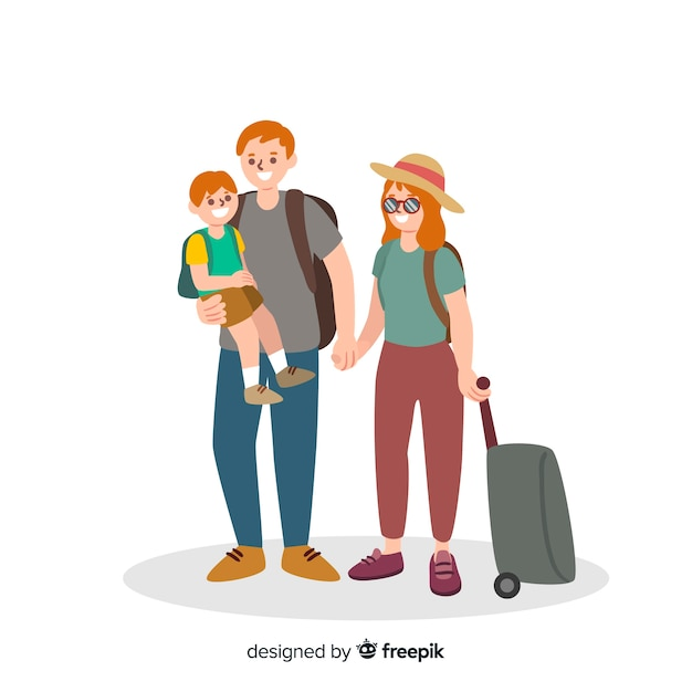 Flat family traveling background Free Vector