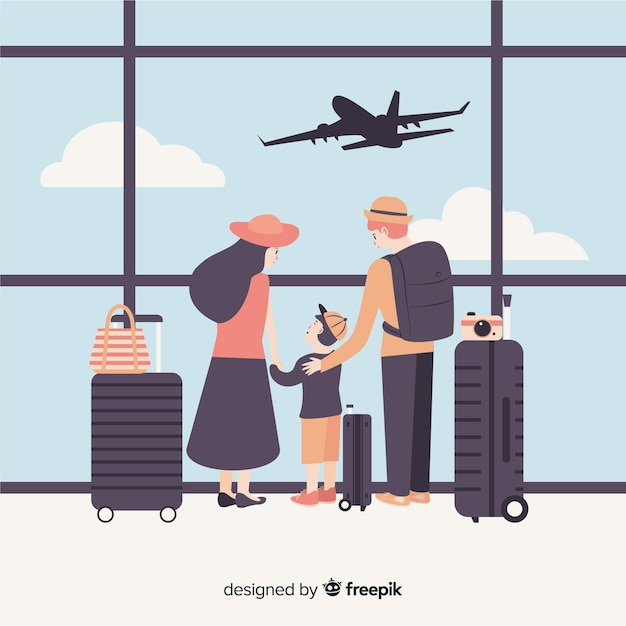 Flat family traveling Free Vector