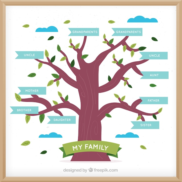 Flat Family Tree With Blue Labels Vector
