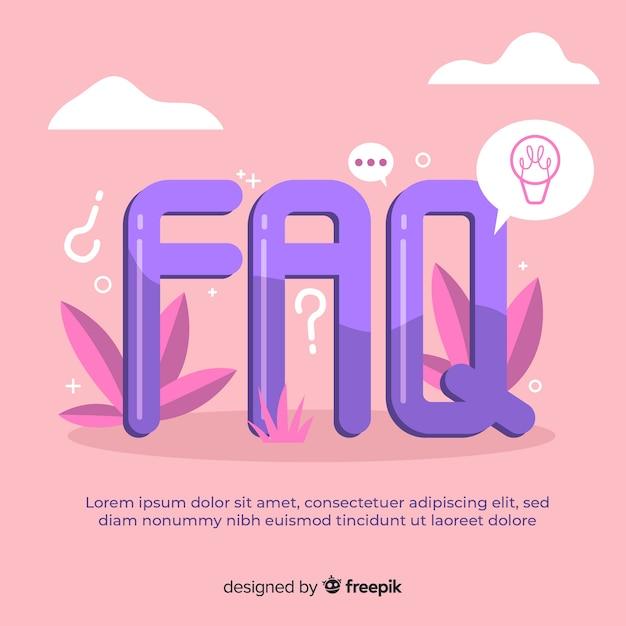 Flat faq background template Free Vector