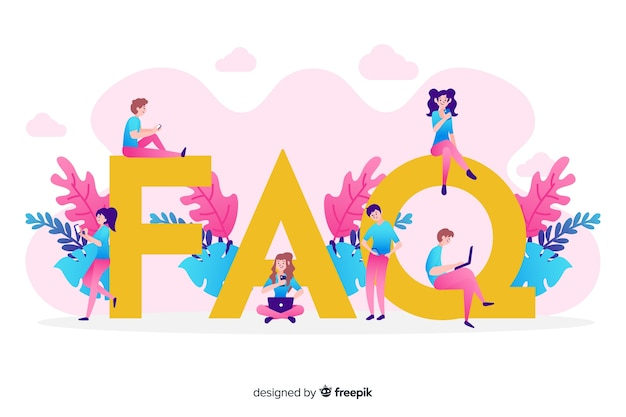 Flat faq concep pink background Free Vector