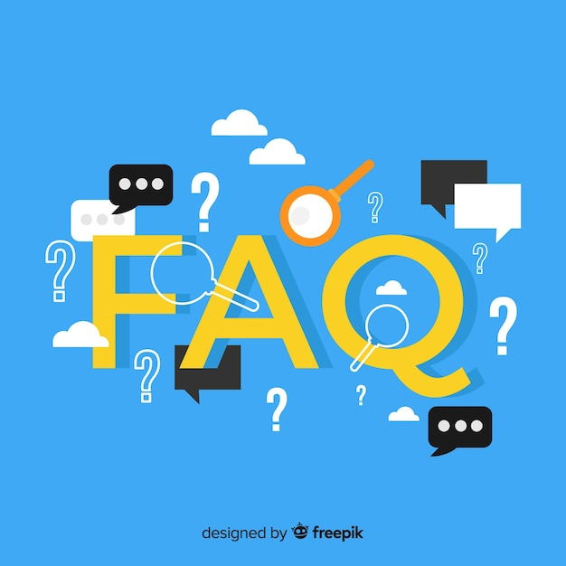 Flat faq concept background Free Vector