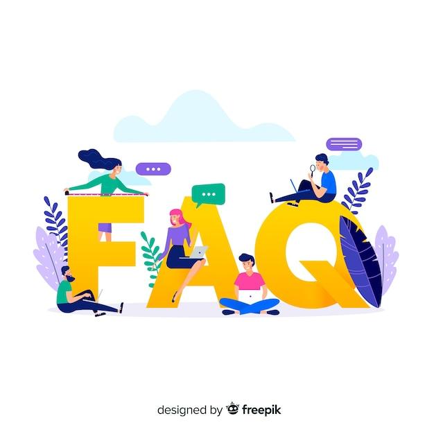 Flat faq concept background Free Vector