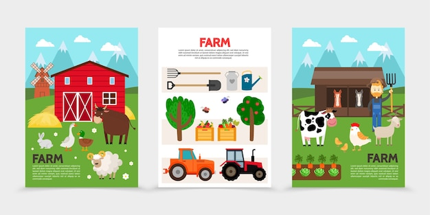 Flat farm and agriculture posters Premium Vector