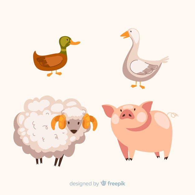 Flat farm animal collection Free Vector