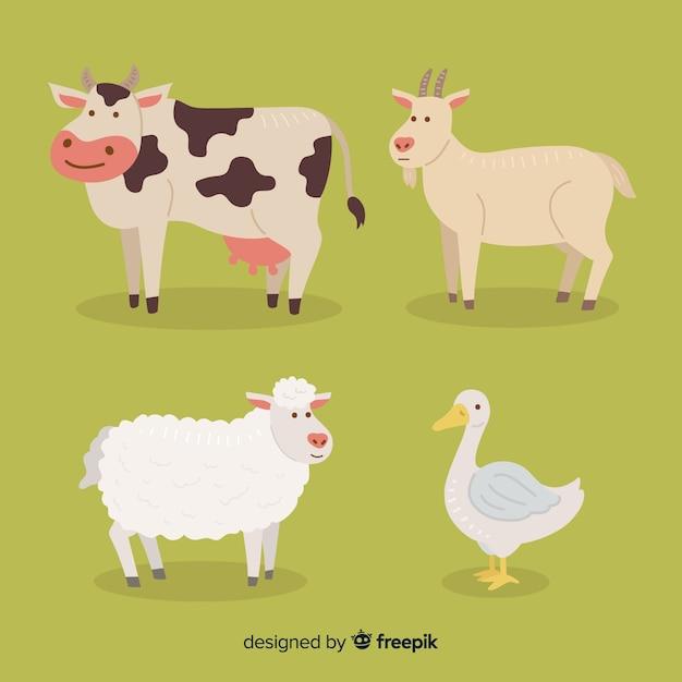 Flat farm animal collection Free Vector