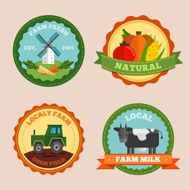 Flat farm label and badges set with farm fresh natural locally farm corn field and local farm milk descriptions Free Vector