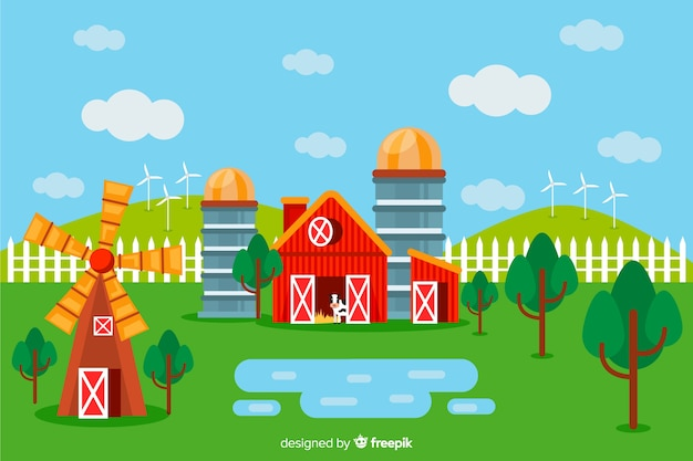 Flat farm landscape background Free Vector