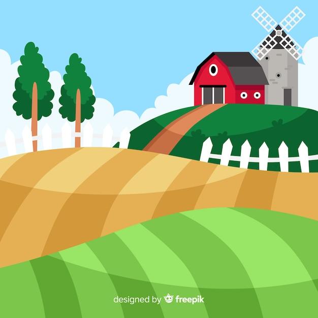 Flat farm landscape background Free Vector