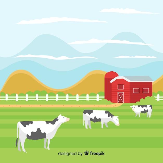 平らな農場の風景 Premiumベクター