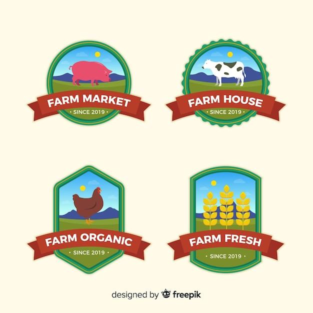 Flat farm logo collection Free Vector