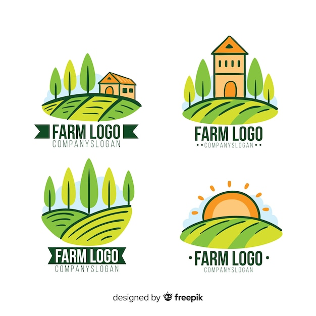 Flat farm logo collection Free Vector