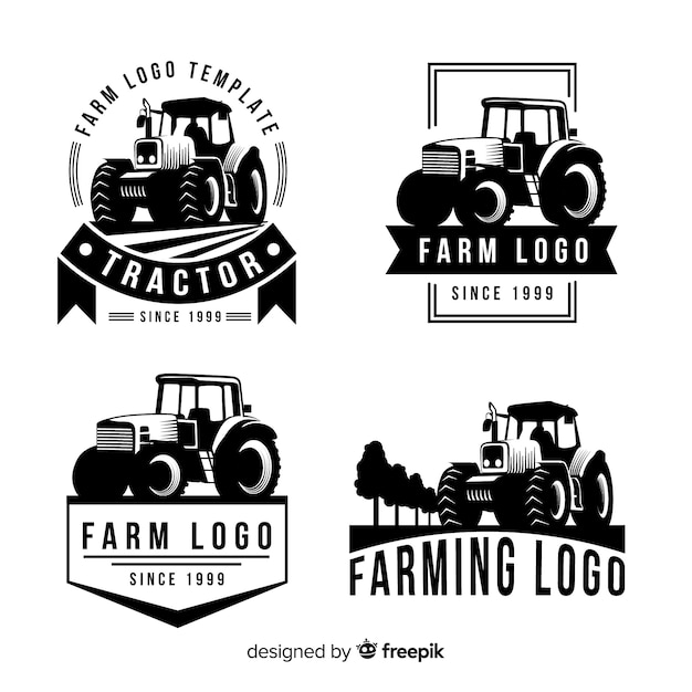 Flat farm logo collection Premium Vector