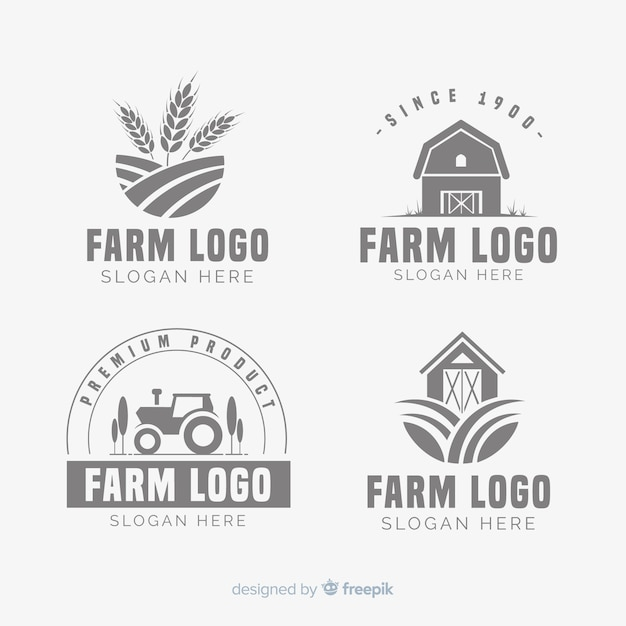 Flat farm logo template collection Free Vector