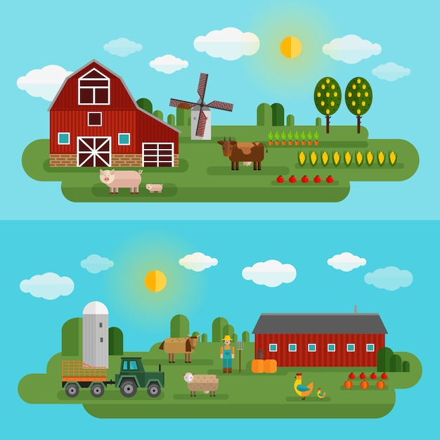 Flat farm panorama set with two different types of farm and animals Free Vector