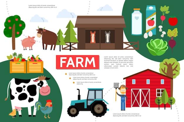 Плоский инфографический шаблон сельского хозяйства и сельского хозяйства Бесплатные векторы